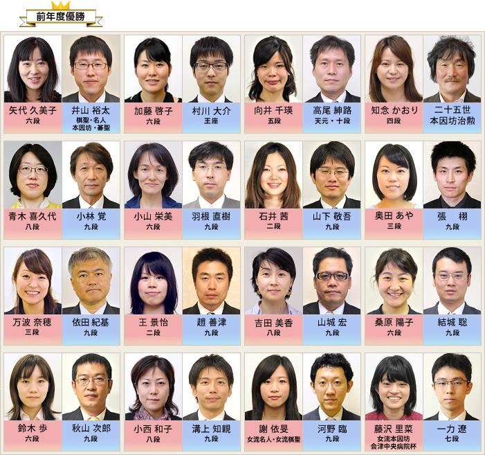 プロ棋士ペア碁選手権2015 出場棋士・組み合わせ